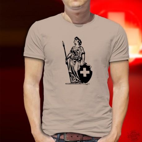 Dame Helvetia ✚ Confédération Helvétique ✚ T-Shirt homme (Dame Helvetia, lance, bouclier à croix fédérale et couronne de Laurier