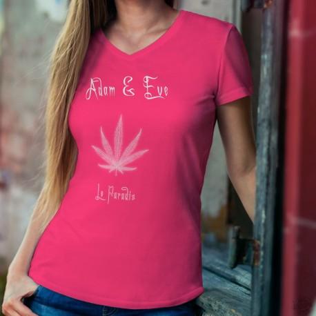 Le Paradis ★ Adam & Eve® ★ T-Shirt coton dame avec une feuille de cannabis (Marijane), une vision artificielle du Paradis