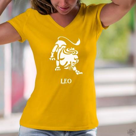 Signe astrologique du Lion (Leo) ♌ T-Shirt coton mode Dame, pour les personnes nées entre le 23 juillet et le 23 août