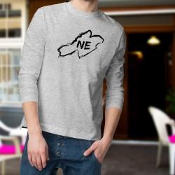 """Frontières Neuchâteloises au pinceau ★ Pull homme, frontières du canton de Neuchâtel et lettres """"NE"""" dessinées au pinceau"""