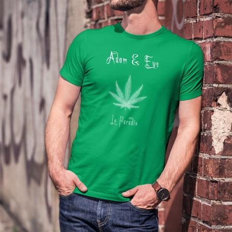 Le Paradis ★ Adam & Eve® ★ T-Shirt coton homme (feuille de cannabis, Marijane)