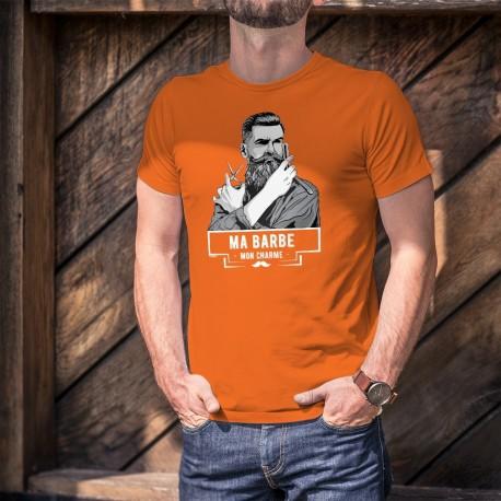 Ma barbe, mon Charme ★ Hipster ★ T-Shirt coton homme avec un hipster à la barbe soignée tenant ciseau et ancienne lame de rasoir
