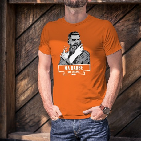 Men's cotton T-Shirt - Ma barbe, mon Charme