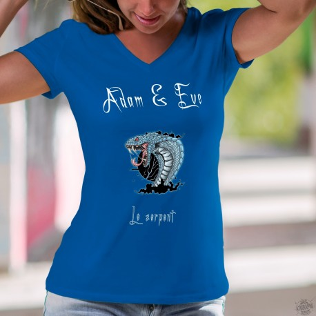 Le Serpent ★ Adam & Eve® ★ T-Shirt coton dame, avec un serpent style héroic fantasy