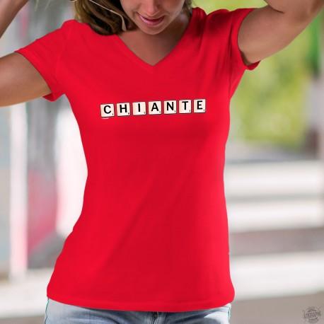 Chiante ✻ lettres de Scrabble ✻ T-Shirt coton humoristique dame