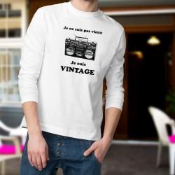 Vintage radio ★ je ne suis pas vieux, je suis vintage ★ Pullover homme, avec une Ghetto blaster, radio portable des années 80