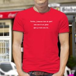 Parfois, j'aimerais faire du sport mais mon lit est jaloux, alors je reste avec lui ★ T-Shirt coton humoristique homme