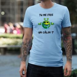 Tu me fais un câlin ? ★ Alien Smiley ★ T-shirt humoristique homme, Smiley extra-terrestre vert, bavant, voulant un gros câlin