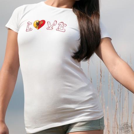 LOVE ❤ Coeur aux couleurs du canton de Genève ❤ T-shirt mode dame ❤❤❤❤❤