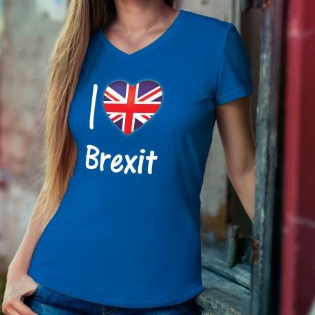 I Love Brexit ★ Union Jack ★ T-Shirt coton dame avec ★ J'aime le Brexit ★ et un coeur aux couleurs du Royaume-Uni (Union Jack)