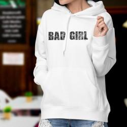 Bad Girl ★ Vilaine fille ★ Pull humoristique blanc à capuche dame