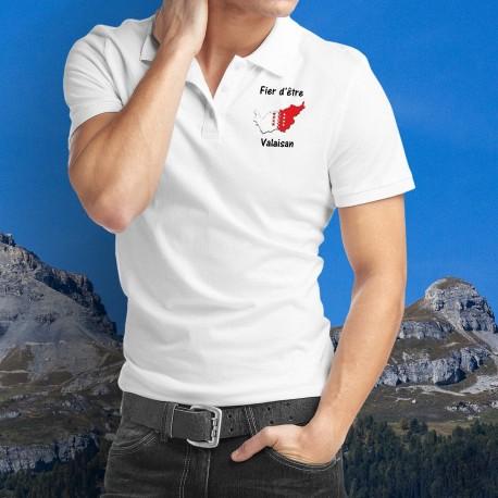 Fier d'être Valaisan ★ Frontières du canton aux couleurs valaisannes avec les treize étoiles ★ Polo shirt homme