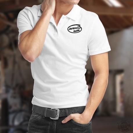 Men's Funny Polo shirt - Jurassien inside, White
