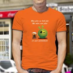 Mon père ne boit pas, ma mère non plus, je suis autodidacte ★ Chope de Bière Alien Smiley ★ T-Shirt coton homme