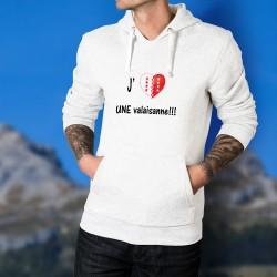 J'aime UNE valaisanne ★ coeur aux couleurs du canton du Valais ★ Pull blanc à capuche Homme