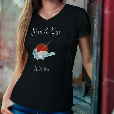 La Création ★ Adam & Eve® ★ T-Shirt coton dame avec la main de Dieu créant l'Univers selon le livre de la Genèse