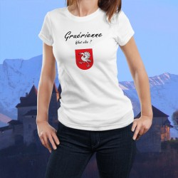 Gruérienne, What else ? ★ Gruérienne, quoi d'autre ? ★ T-Shirt mode dame illustré du drapeau du district de la Gruyère