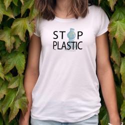 STOP PLASTIC ★ La Terre dans une bouteille plastique★ T-Shirt climatique mode dame inspiré de la campagne contre le SIDA