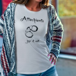 Attachiante, jour et nuit ★ paire de menottes ★ T-Shirt mode dame humoristique