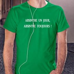 """Absinthe un jour, Absinthe toujours ★ T-Shirt coton homme en l'honneur de la Fée Verte appelée aussi """"La Bleue"""""""