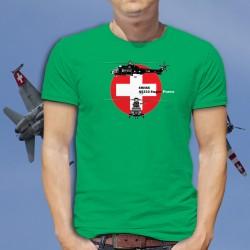 Aérospatiale AS332 Super Puma ★ Forces aériennes suisses ★ T-Shirt coton homme Blueprint
