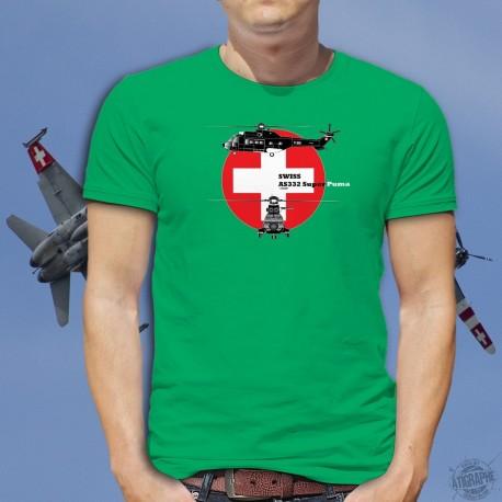 AS332 Super Puma ★ Forze aeree svizzere ★ Uomo Moda cotone T-Shirt
