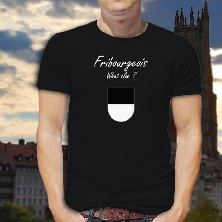 Fribourgeois, What else ? ★ T-Shirt coton homme, écusson du canton de Fribourg et inspiré d'une marque de café espresso connue