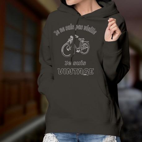Cyclomoteur Solex ★ Je ne suis pas vieille, je suis vintage ★ Pull à capuche coton dame avec un Vélosolex, vélomoteur célèbre