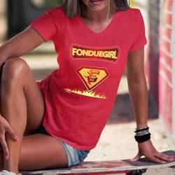 Fonduegirl ✻ comics super héros ✻ T-Shirt coton dame