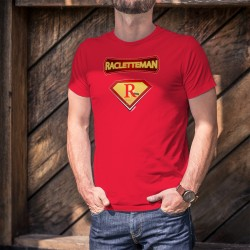 Racletteman ★ SuperHero Comics ★ Men's Fashion cotton T-Shirt on the raclette, the famous cheese fondue