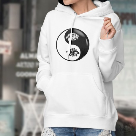 Tribal tattoo Lion Head ☯ Yin-Yang ☯ Lady's Hoodie