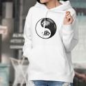 Testa di Leone Tribale ☯ Yin-Yang ☯ Felpa bianco a cappuccio per donna