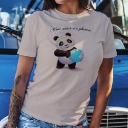 C'est aussi ma planète ❤ bébé Panda tenant la Terre entre ses pattes ❤ T-Shirt décontracté dame réchauffement climatique