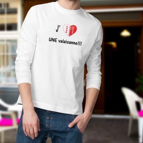 J'aime UNE valaisanne ★ coeur aux couleurs valaisannes ★ Pull homme