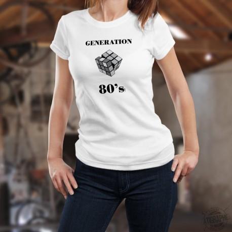 Génération quatre-vingt ✿ 80's Rubik's Cube ✿ T-Shirt humoristique mode dame