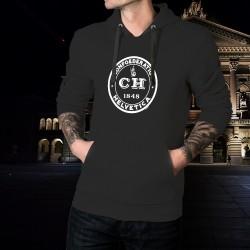 Confoederatio Helvetica 1848 ★ Dame Helvetia ★ Pull à capuche coton homme avec un emblème inspiré de la confédération Suisse