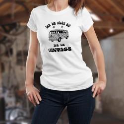Donna funny slim T-shirt - Vintage Flower Power - versione tedesca