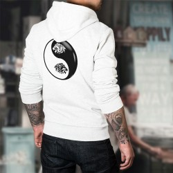 Tête de Lion Tribal ☯ Yin-Yang ☯ Pull blanc à capuche homme
