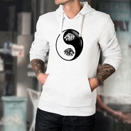 Testa di Leone Tribale ☯ Yin-Yang ☯ Felpa bianco a cappuccio per uomo