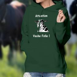 Attention Vache Folle ! ✿ Tête de vache Holstein hallucinée ✿ Pull à capuche coton dame
