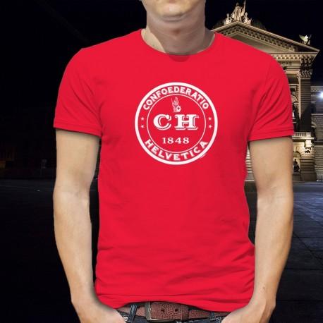 Confoederatio Helvetica 1848 ✚ Dame Helvetia ✚ T-Shirt coton homme suisse, Confédération helvétique