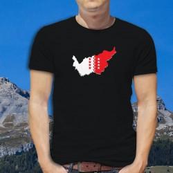 Frontières cantonales valaisannes aux couleurs du Valais en 3D ★ T-Shirt coton homme