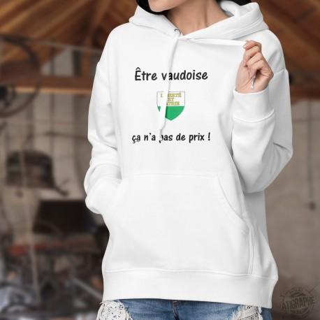 Donna felpa bianco a cappuccio - Être Vaudoise ✿ ça n'a pas de prix ✿
