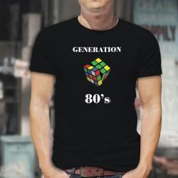 Génération quatre-vingt ★ Rubik's Cube ★ T-Shirt coton homme avec le casse-tête populaire dans les années 1980