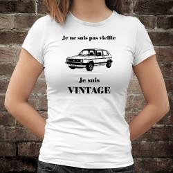 Vintage VW Golf GTI MK1 ★ Je ne suis pas vieille, je suis Vintage ★ T-Shirt humoristique dame Volkswagen