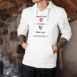 ★ Schweizer zu sein ist eine Ehre ★ Bündner zu sein ★ unbezhalbar! ★ Herren Kapuzenpulli mit Schweizer und Bündner Wappen