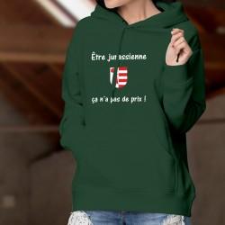 Être Jurassienne ✿ ça n'a pas de prix ✿ Pull à capuche coton dame - écusson du canton du Jura et pub Mastercard