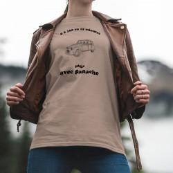 Citroën Deuche ★ 0 à 100 en 15 minutes ★ T-Shirt décontracté vintage dame 2CV, Deudeuche la voiture de légende