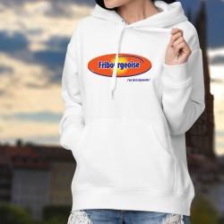 Fribourgeoise, c'est de la dynamite ! ✪ Pull à capuche dame inspirée du logo d'Ovomaltine, boisson chocolaté au malt et oeufs