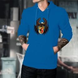 Aigle Genevois ★ Pull à capuche coton homme - magnifique aigle et écusson genevois